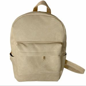 Small Backpack Faux Leather Beige Tons Of Pockets